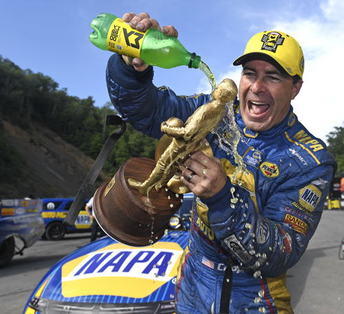 Ron Capps celebrates for the 5X this season!