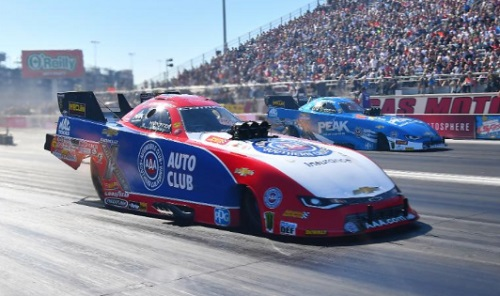 (With this 2nd round win over is boss and team owner John Force - Robert Hight moved into the overall championship points lead - with one race remaining in 2017)