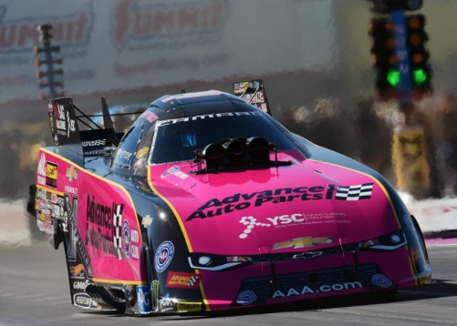 (Courtney's Force's 2017 season campaign included a series of colourful Chevy Camaro Funny Cars)